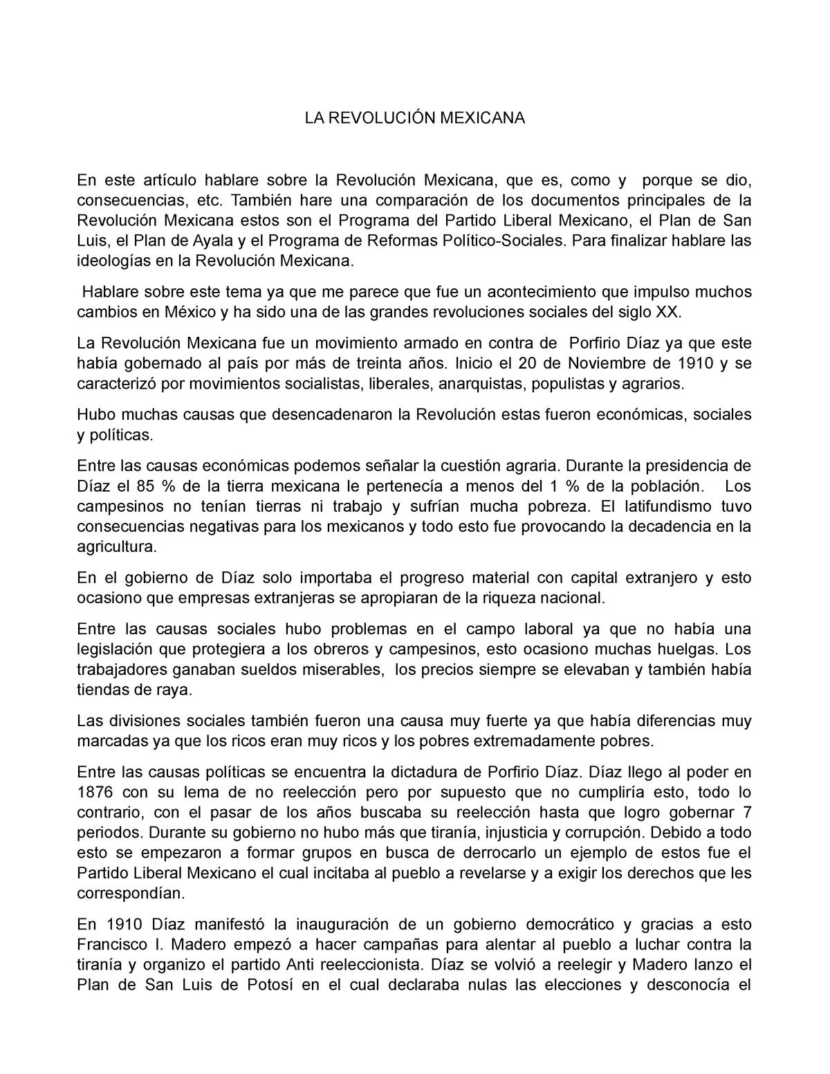 Ensayo la revolución mexicana - Historia De México - ITESO - StuDocu