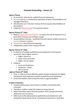 Financial Accounting Lecture 12 - Weel 7 - IB133