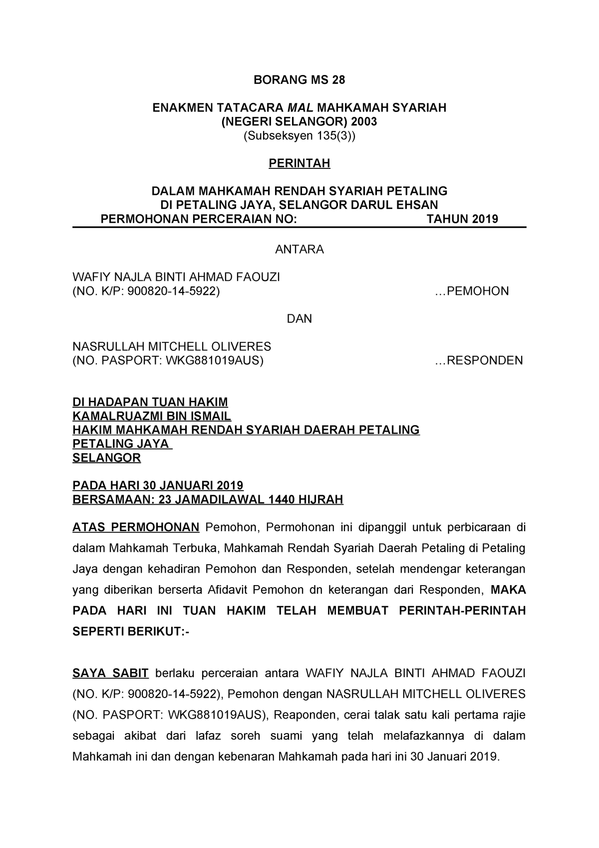 Contoh Surat Permohonan Cerai Talak Gudang Surat