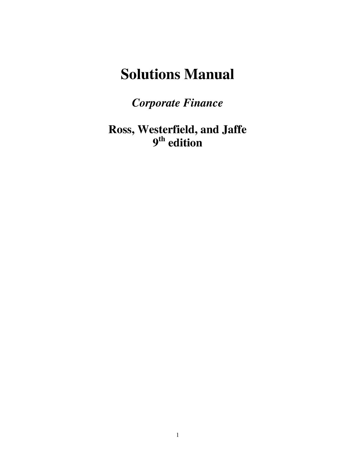 Solutions Manual Corporate Finance 9th e - StuDocu