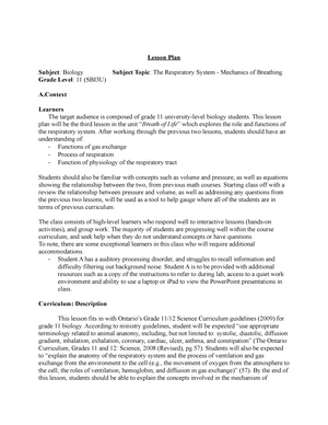 Lesson Plan Respiratory System - PROF 110: Professionalism I