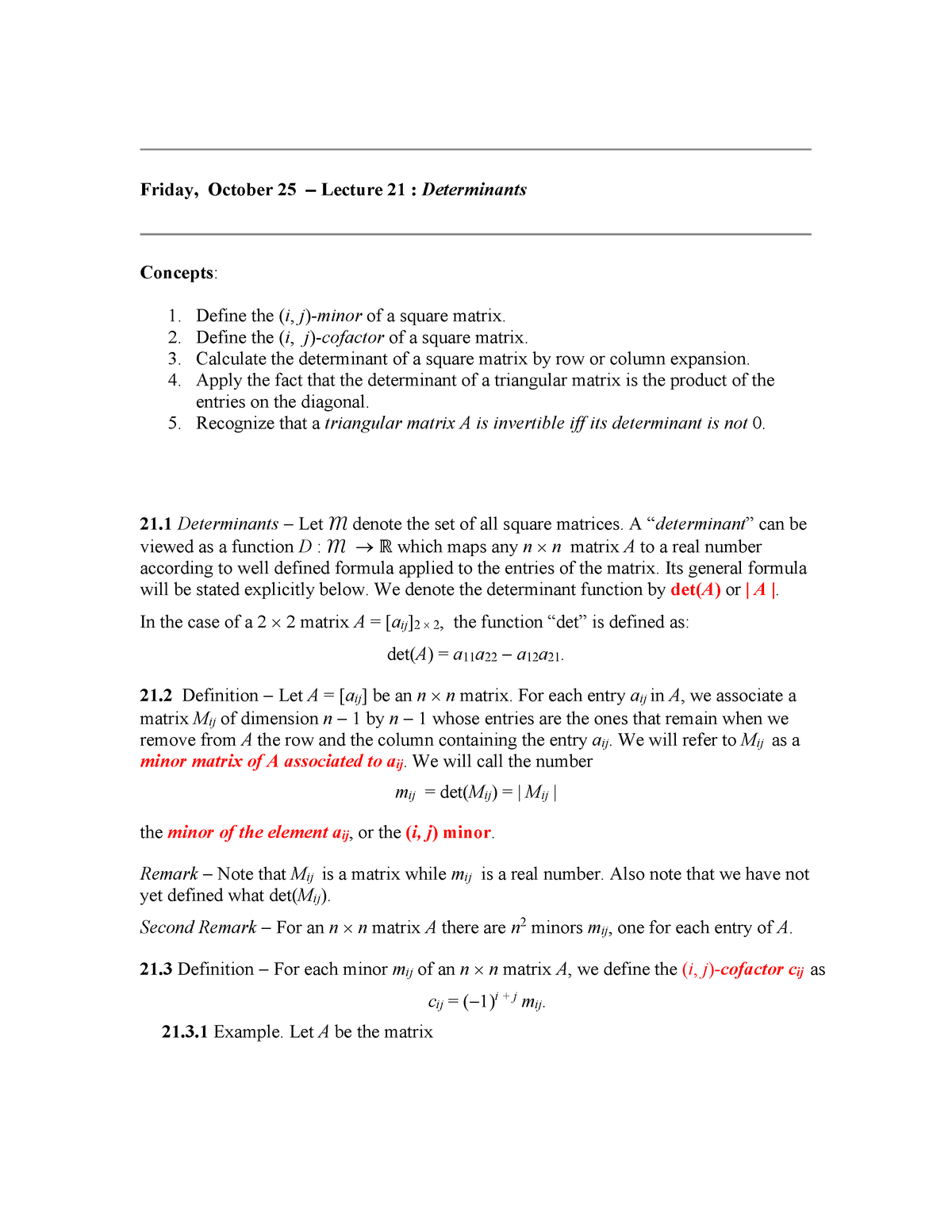Lect115 21 f14 - Study reference - MATH 115: Linear Algebra for