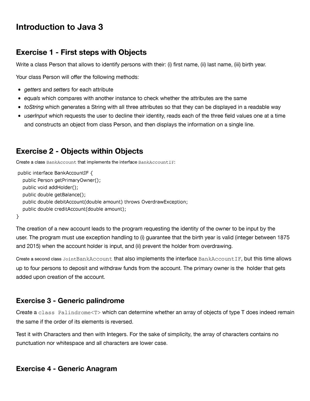 03 - Java Hands-On Exercises 3 - CSCIUA102: Data Structures