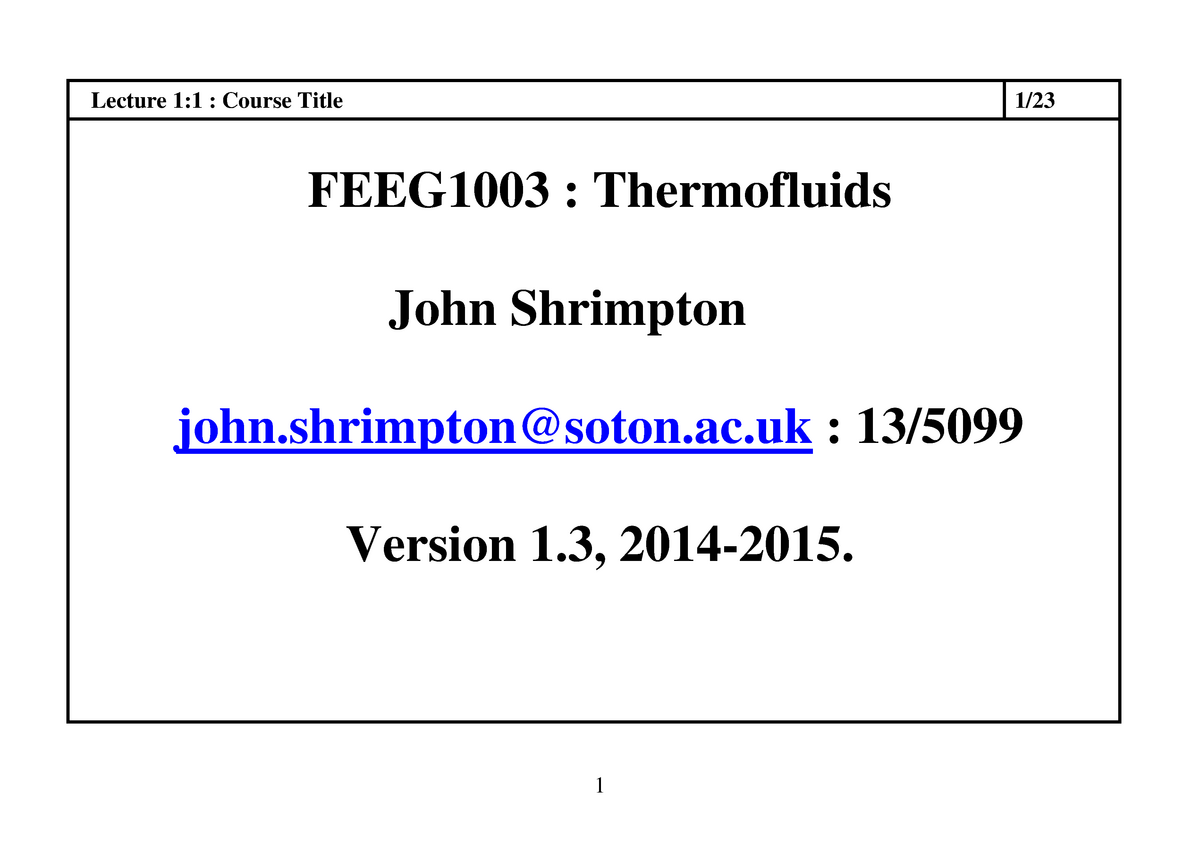 Thermofluids - Lecture notes - Thermo L1 - 13 - FEEG1003