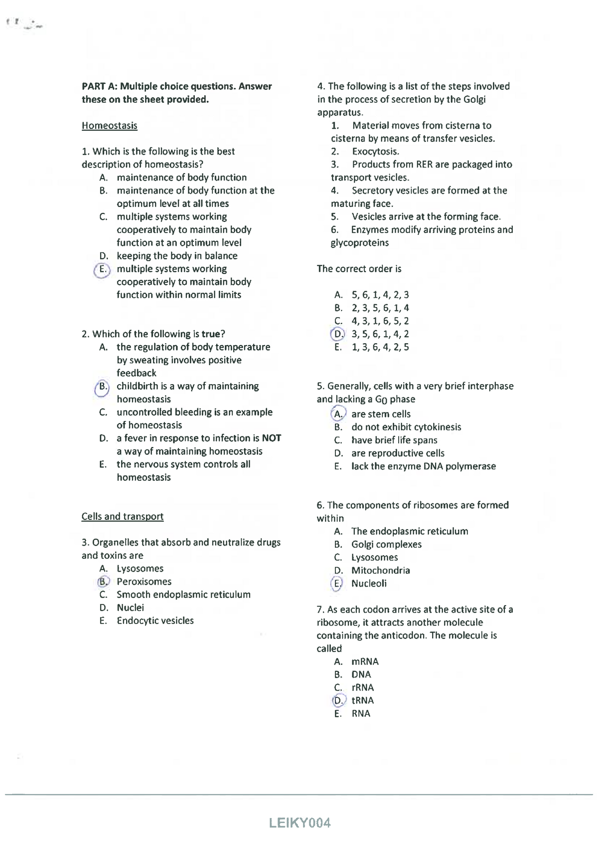 Physiology- Multiple Choice Questions (with answers) - BIOL 1050