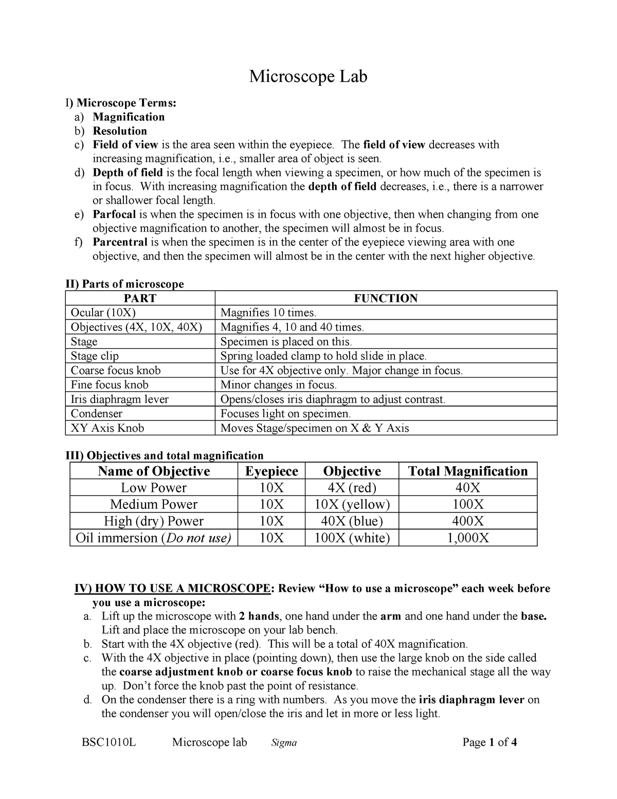 Microscope HO - Summary General Biology I (For Science