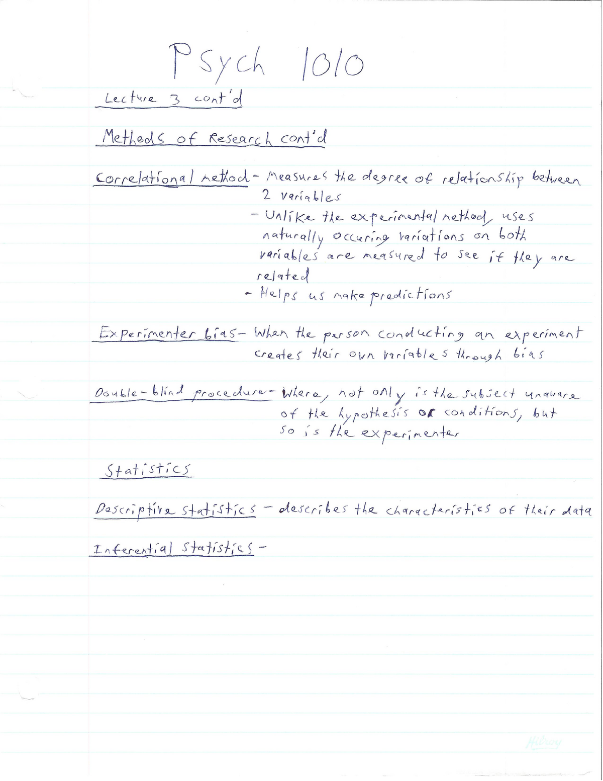 Full set of lecture notes for PSYC1010  Professor was