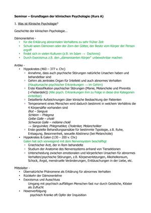 Zusammenfassung Grundlagen klinischer Psychologie - Grundlagen und ...