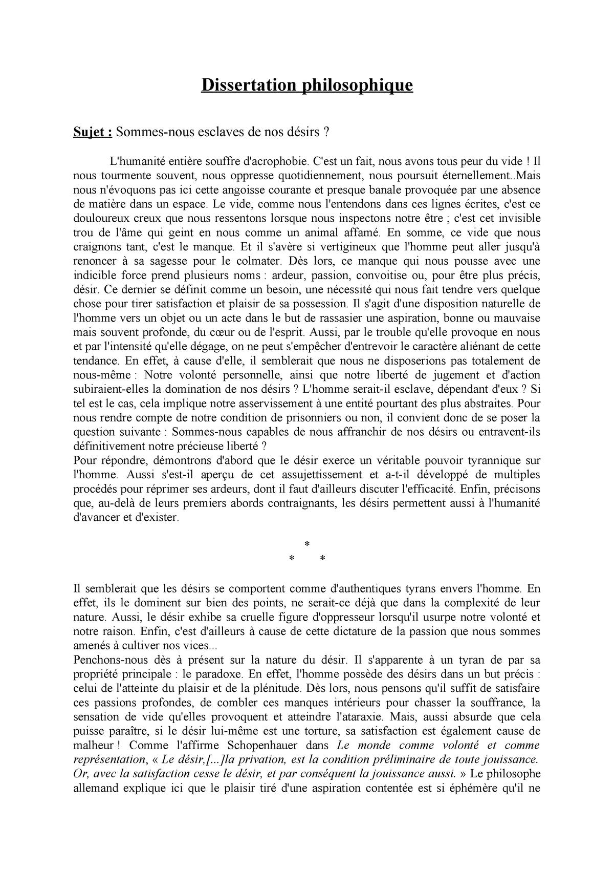 Sommes nous libre de nos choix dissertation proposal