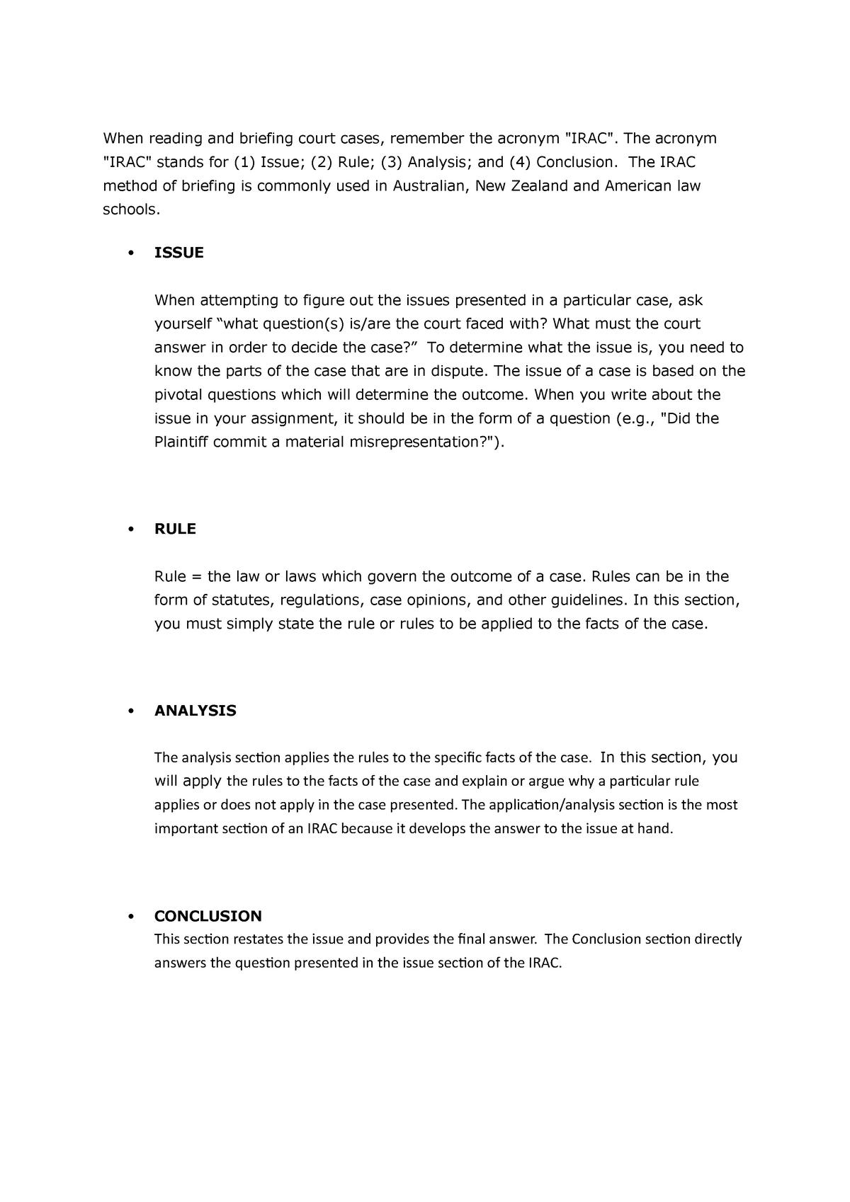 Irac Method Of Legal Writing Studocu