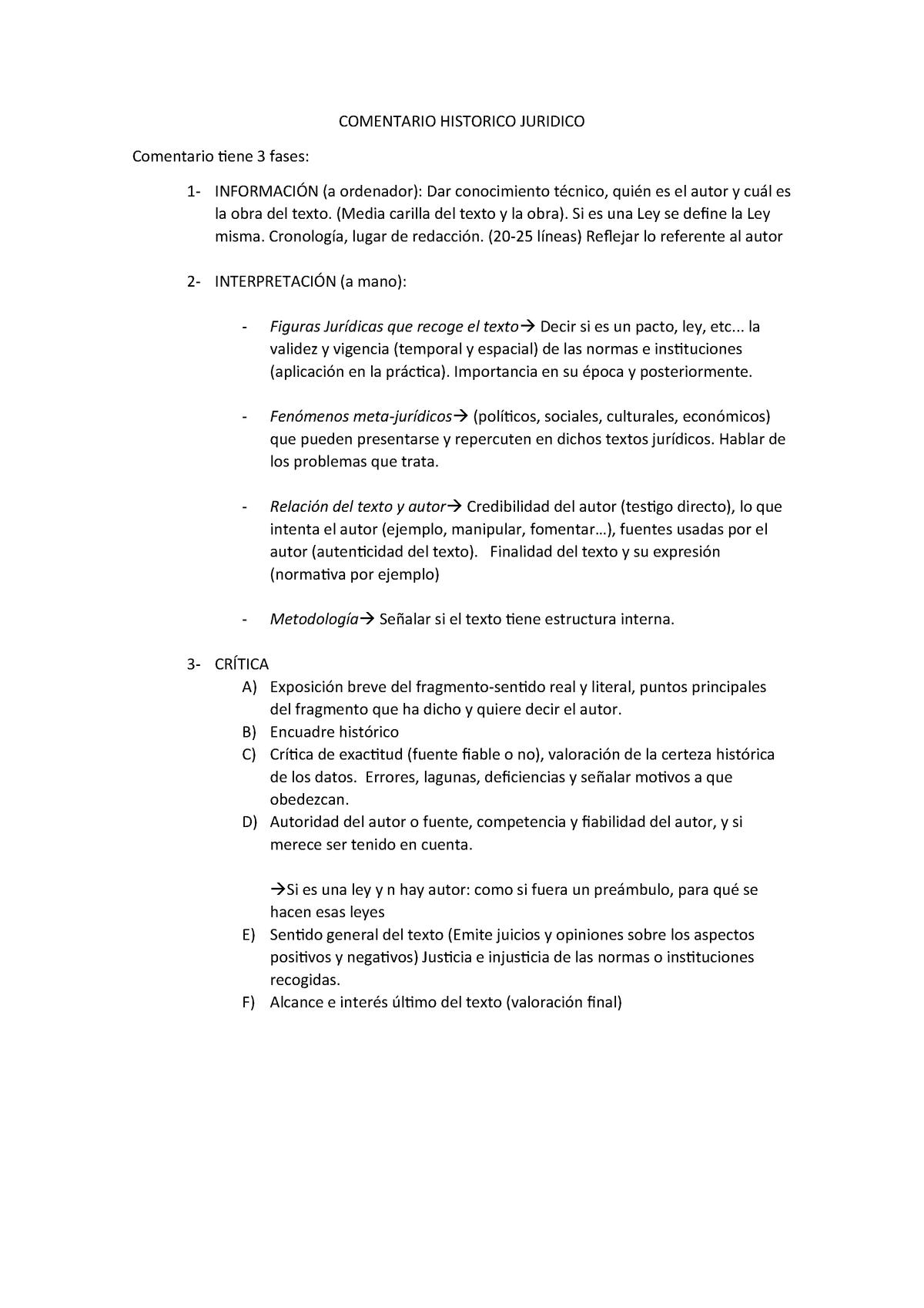 Como Hacer Comentario Hdelderecho Historia Del Derecho