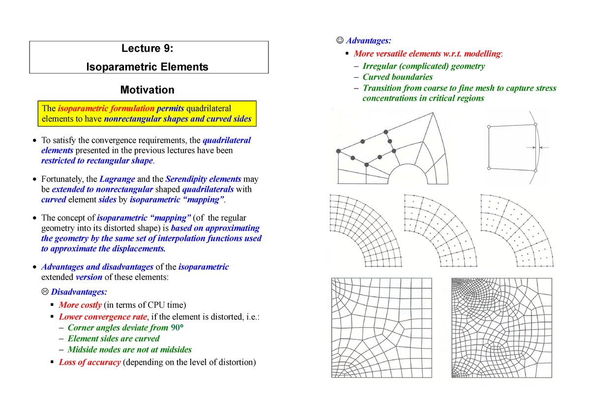 Lecture notes, lecture 9 Isoparametric Elements - TKT4192