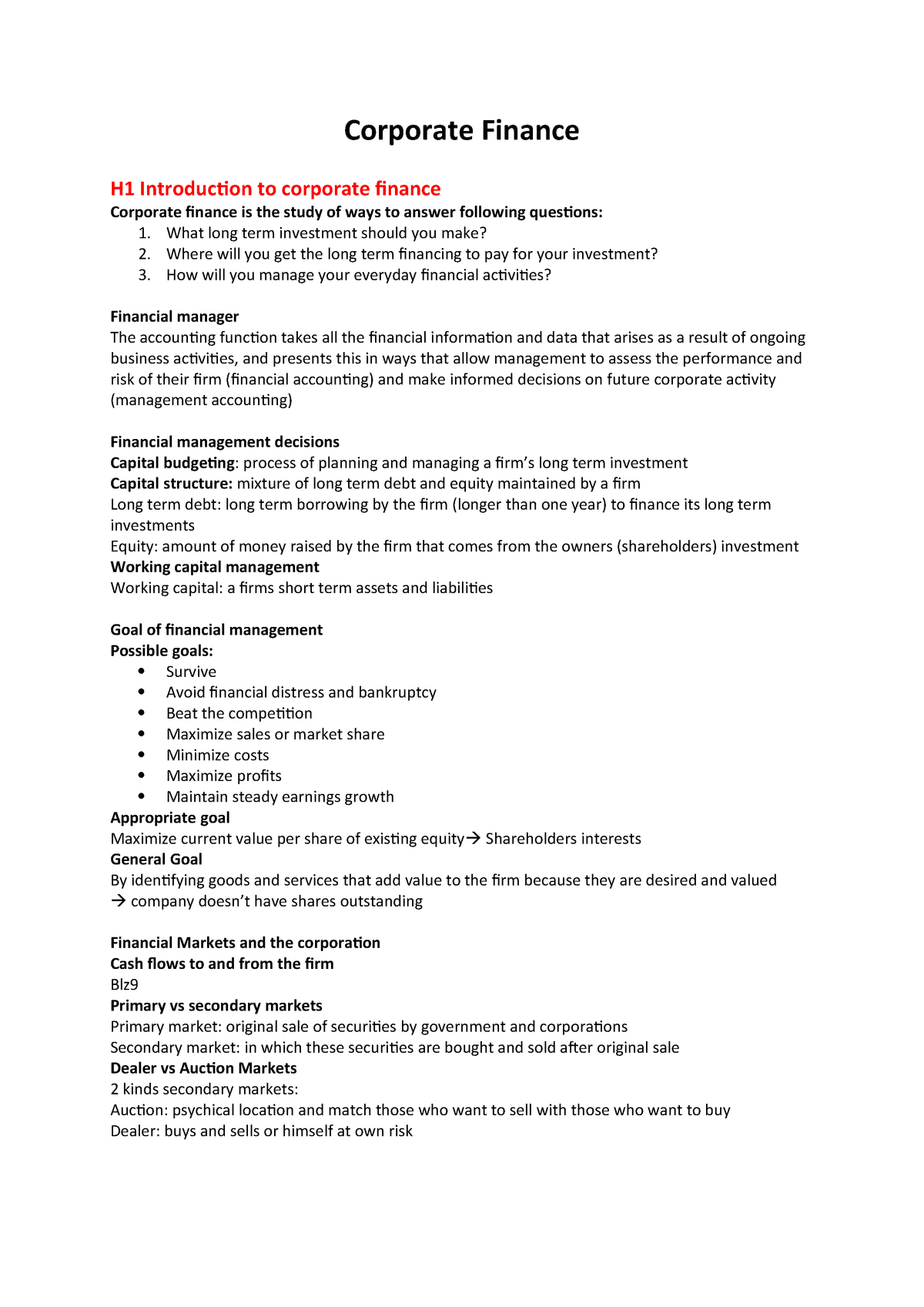 Samenvatting Corporate Finance Corporate Finance H1 Introduction To Corporate Finance Corporate Finance Is The Study Of Ways To Answer Following Questions What Studeersnel