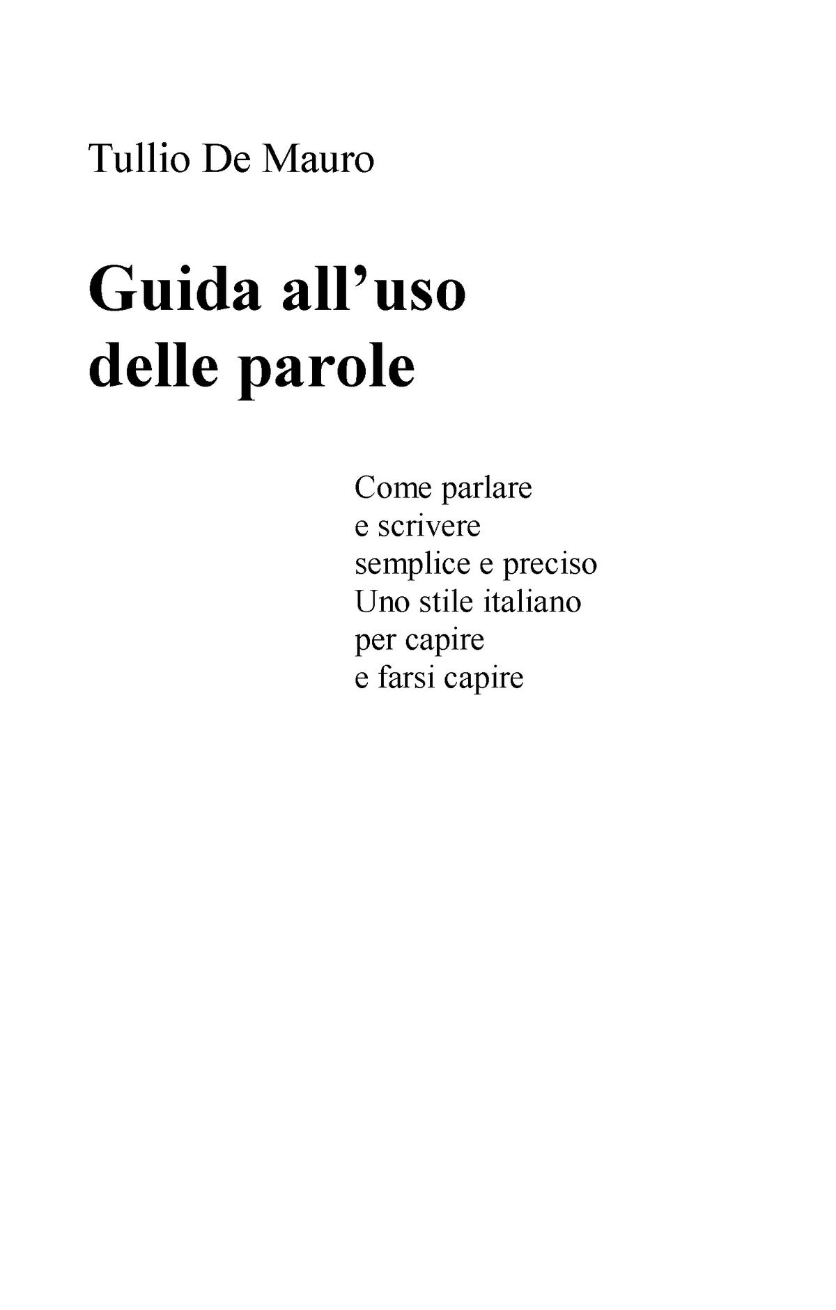 Guida Uso Parole Testo di Tullio De Mauro utile per