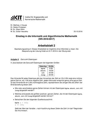 Arbeitsblatt 02 - Wintersemester - 2129906: Einstieg in die ...