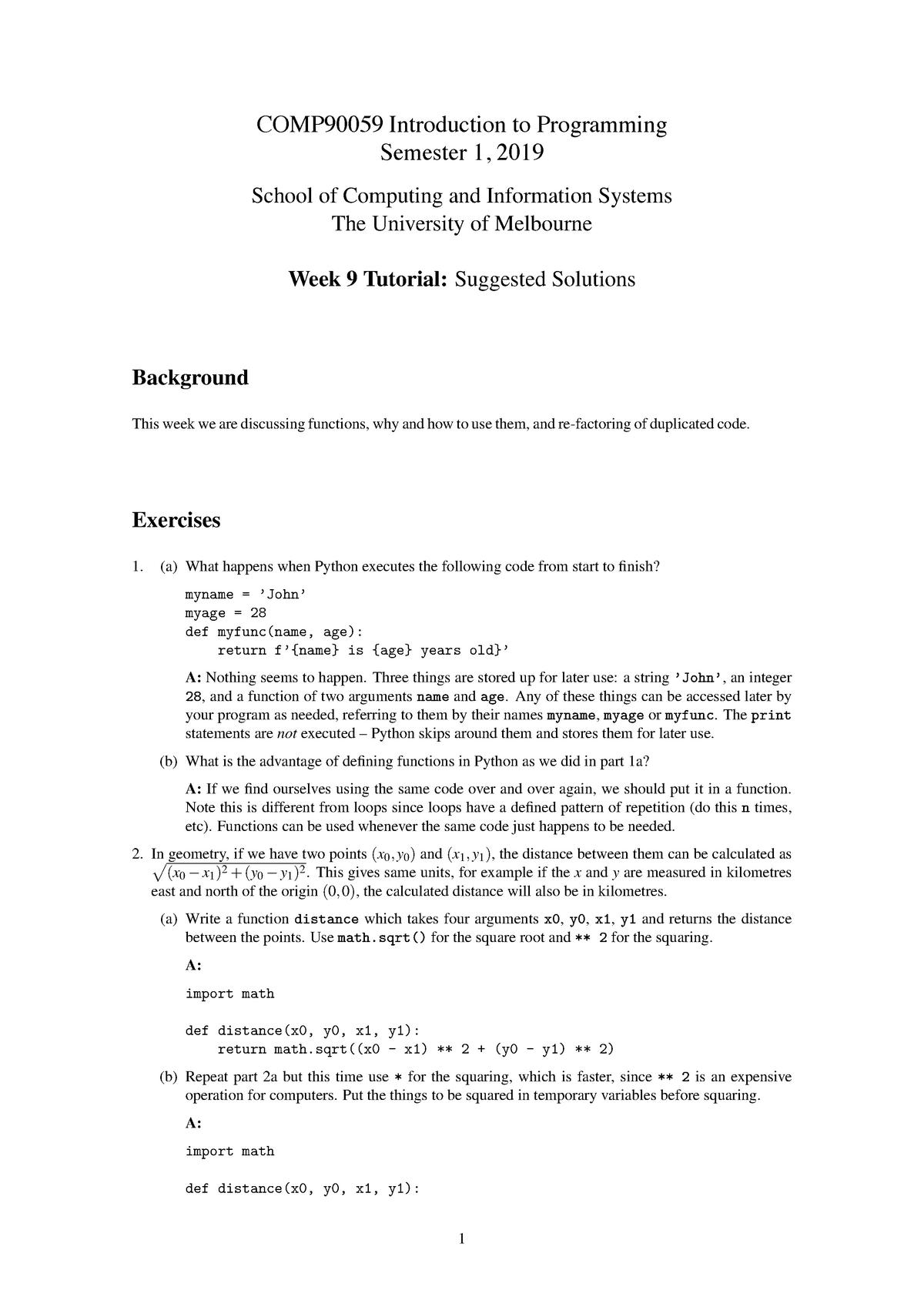 Week09 soln - Answers to Week 9 Tutorial  - COMP90059 - StuDocu
