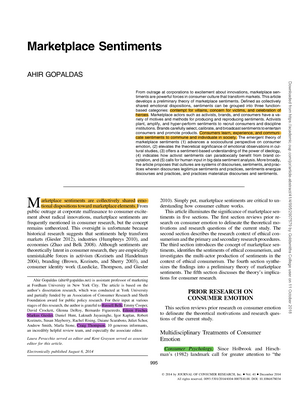 Marketplace Sentiments - Organisational Behaviour and Health