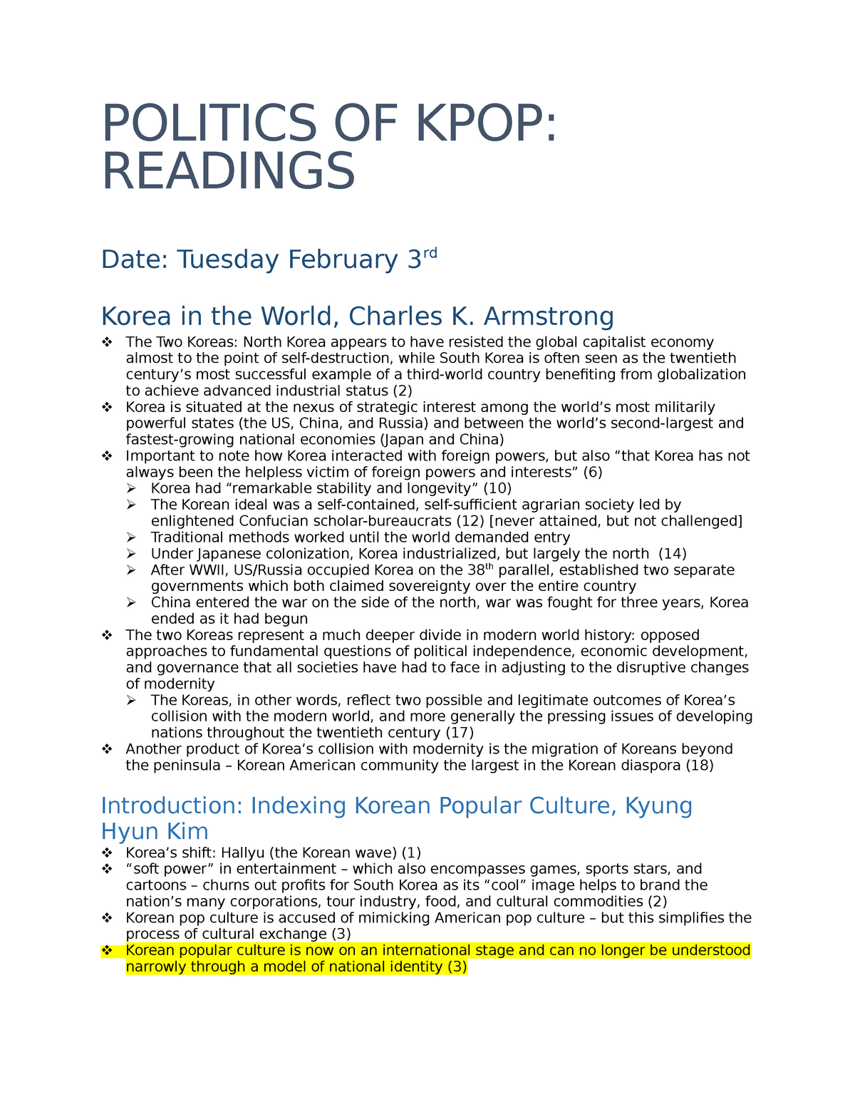 Reading notes - SCAUA481002: Gender, Globalization, and the