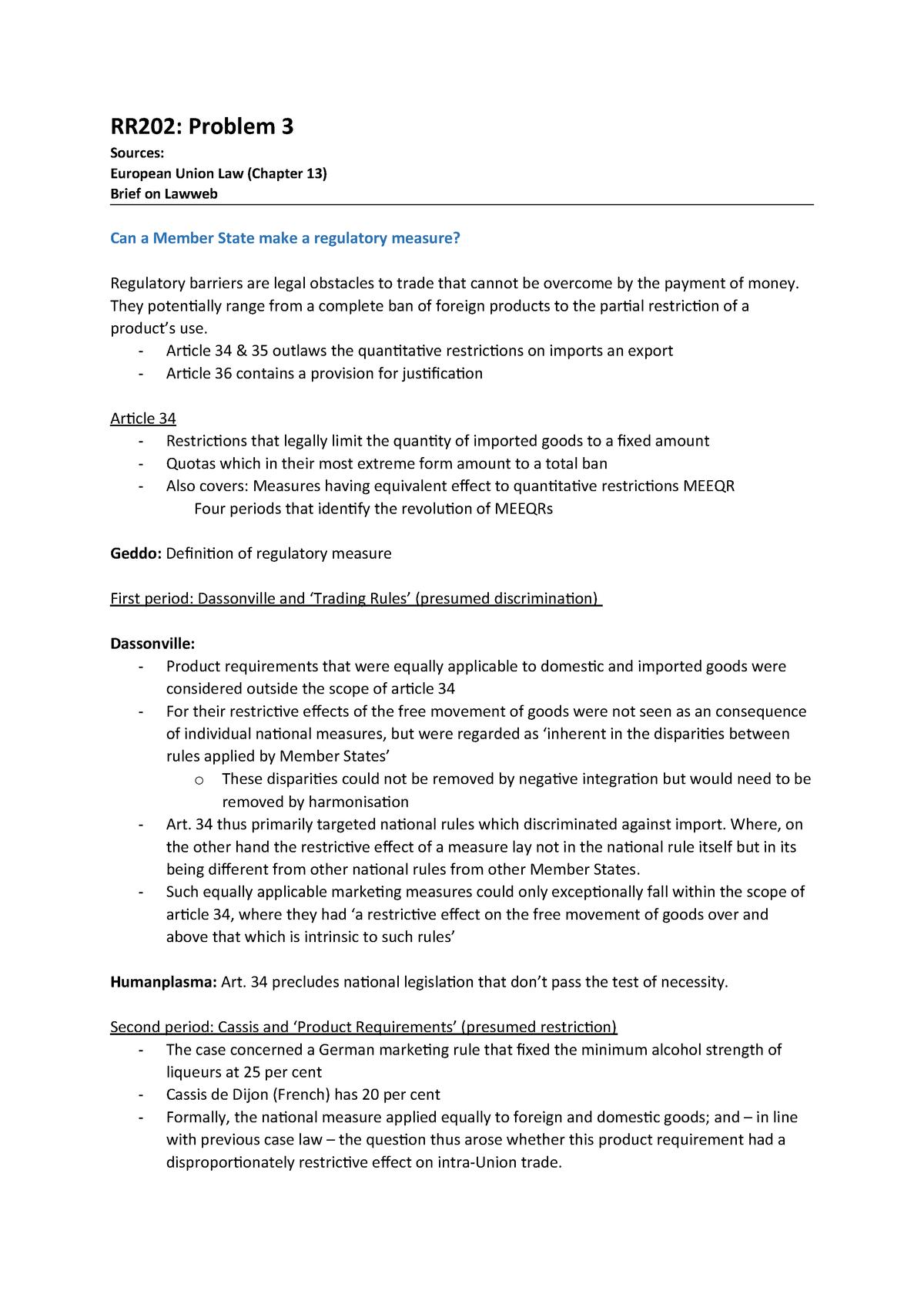 Tutorial Work - Werkgroep 3   European Union Law - RR202