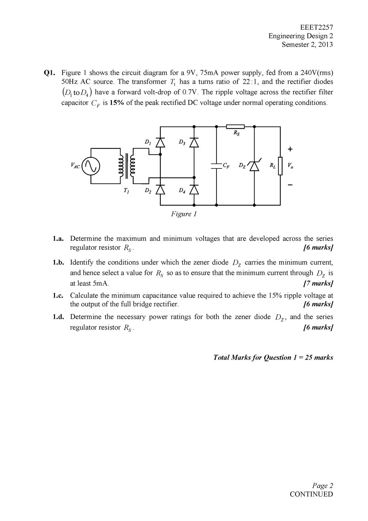 Exam 2013 - EEET2257: Engineering Design 2 - StuDocu