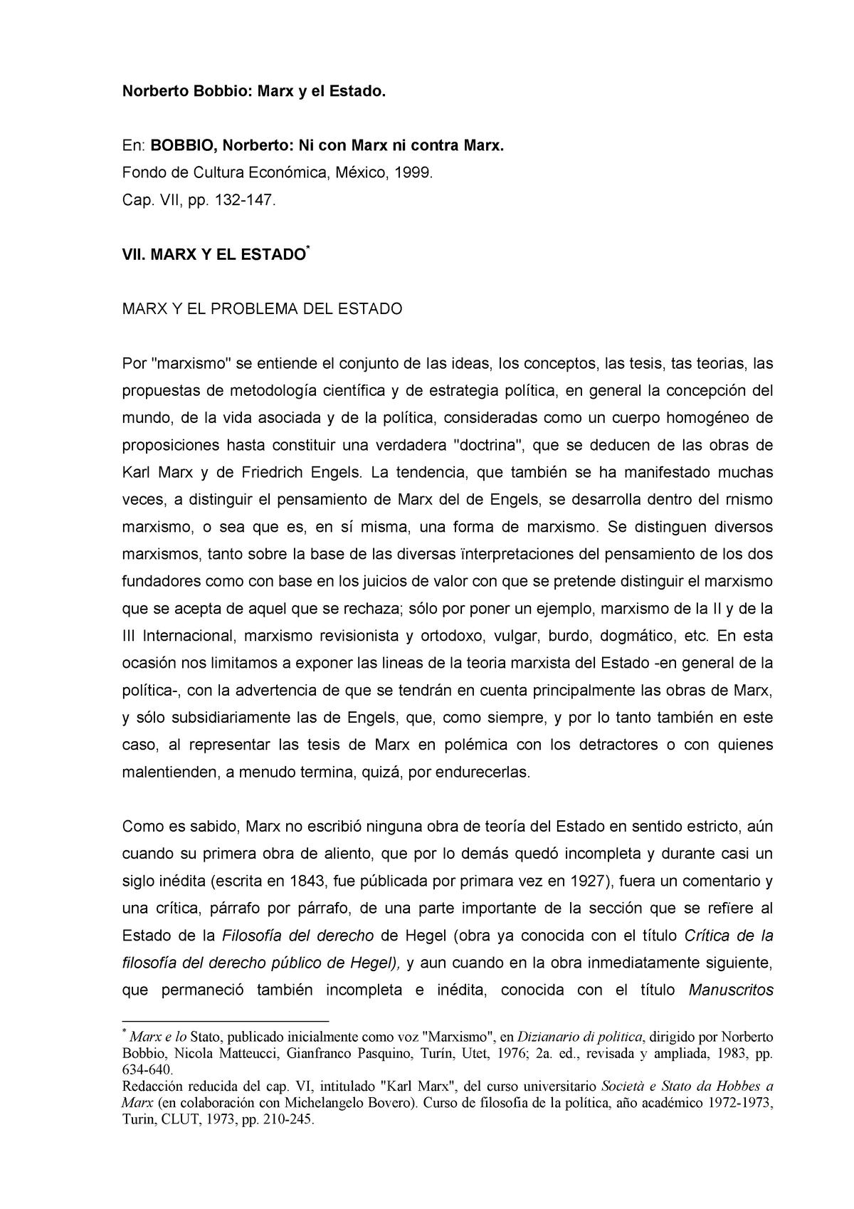Bobbio Norberto Marx Y El Estado Uba Studocu
