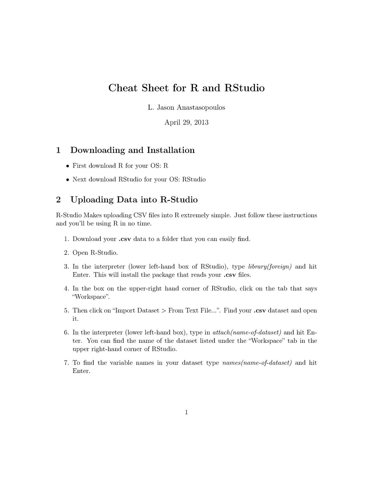 RStudio Cheat Sheet - MAS180: Introduction to Statistics - StuDocu