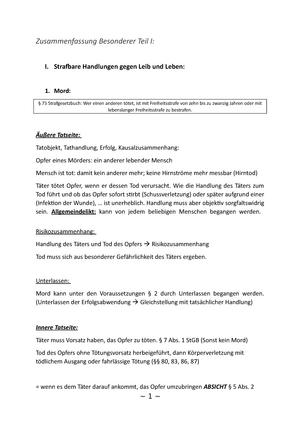 Zusammenfassung BT I - Straf- und Strafverfahrensrecht