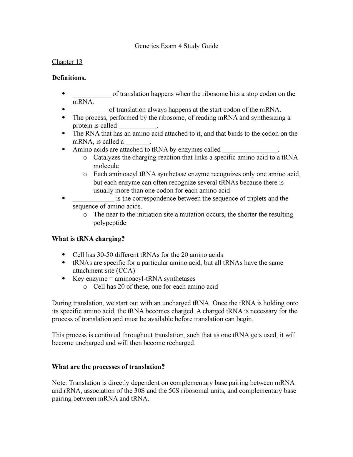 Genetics Exam 4 Study Guide - GEN 300 - StuDocu