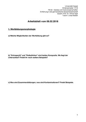 Letztes Arbeitsblatt - Einführung in die germanistische ...