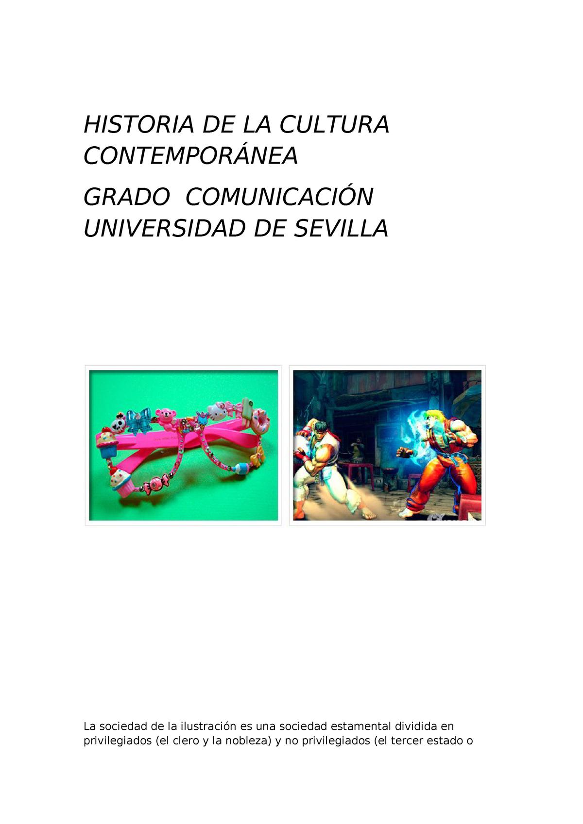 Historia De La Cultura Contemporánea Apuntes Us Ucm