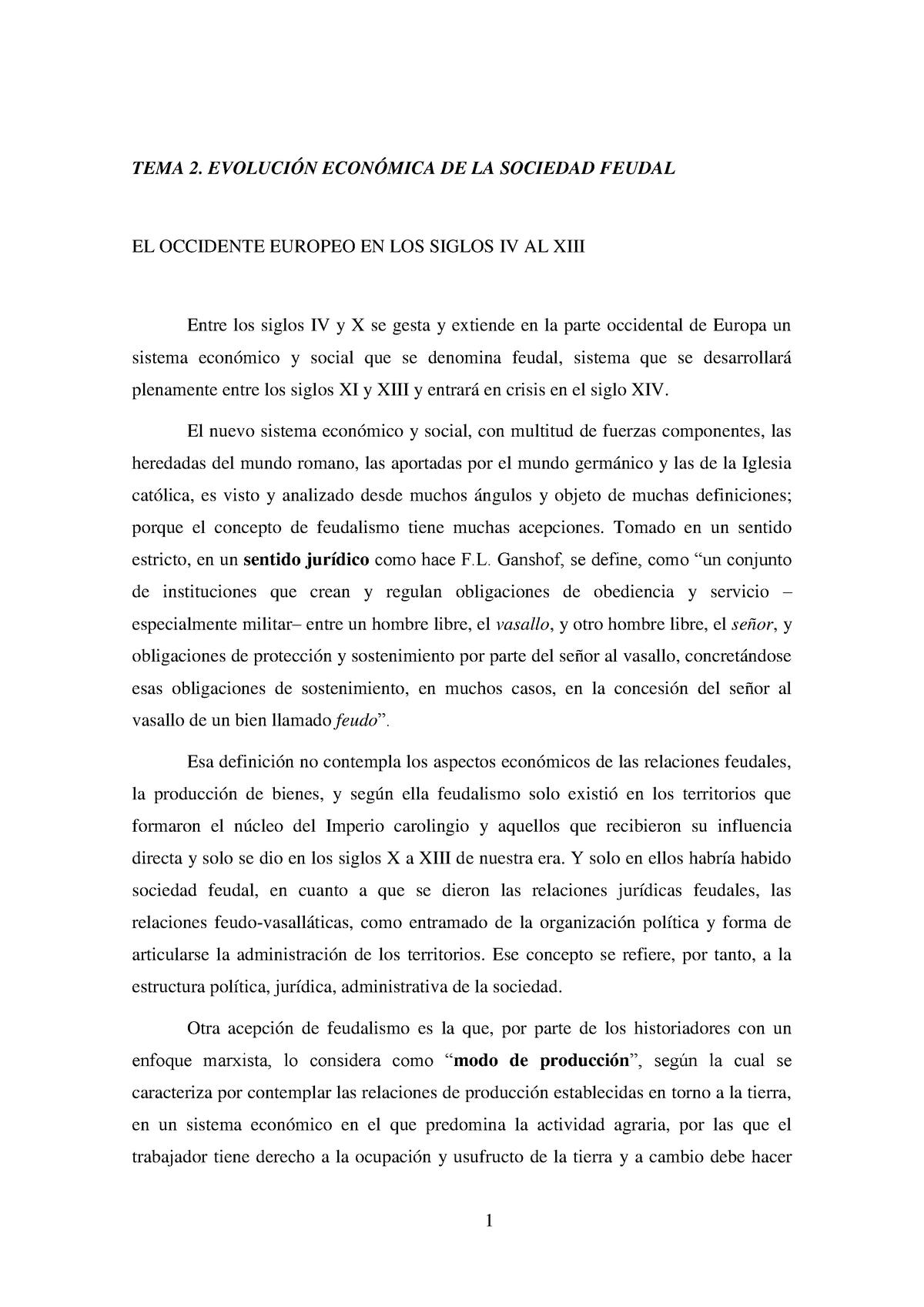 Tema 2 Feudalismo Apuntes 2 Historia Económica 622 Studocu