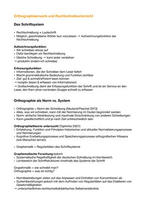 Orthographieerwerb Und Rechtschreibunterricht Zusammenfassung
