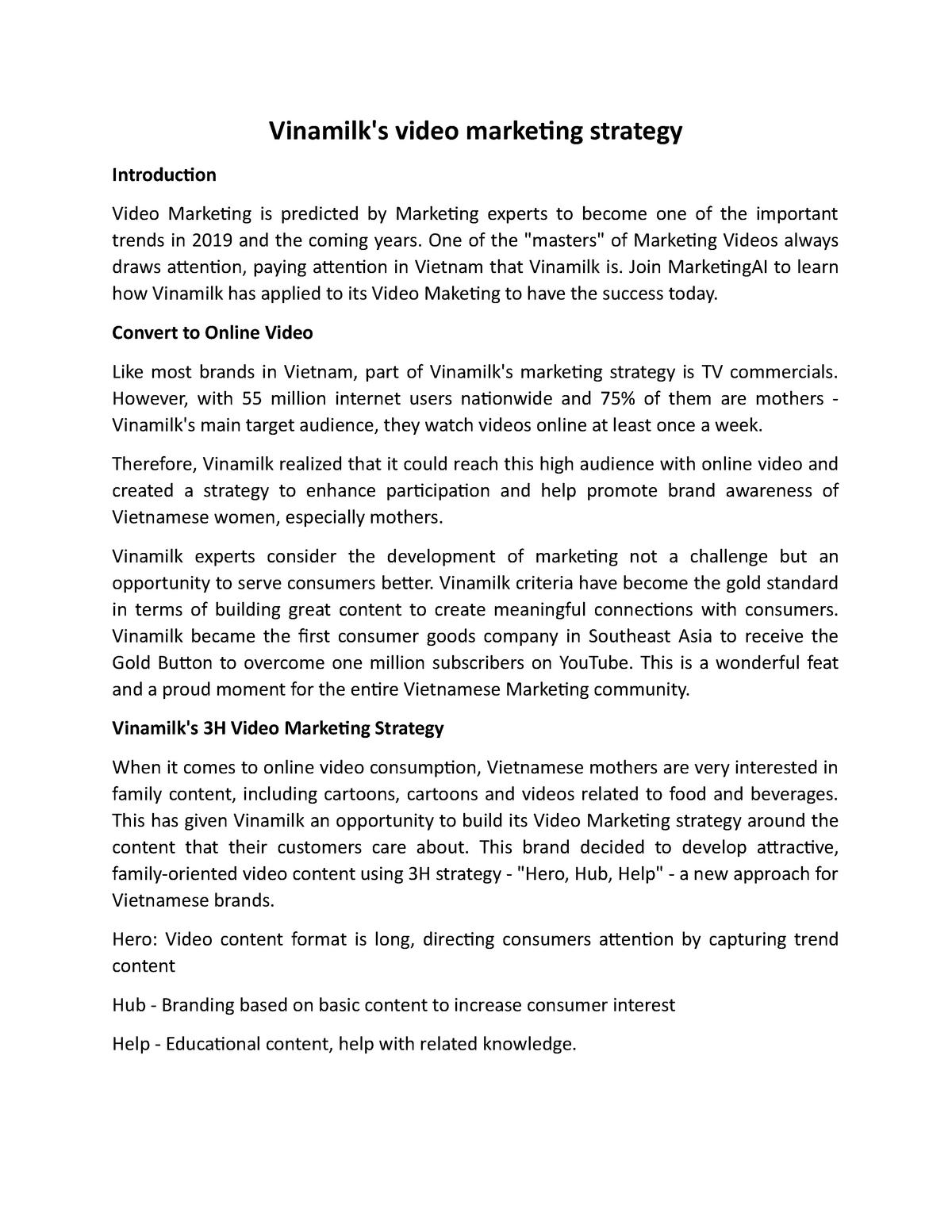 Vinamilk's video marketing strategy - ME - StuDocu