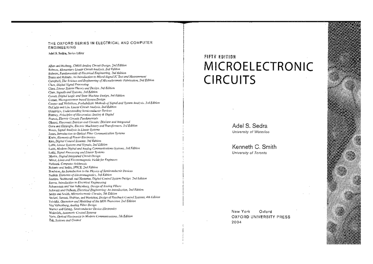 Microelectronic circuits by Sedra Smith,5th ed readable[reduced