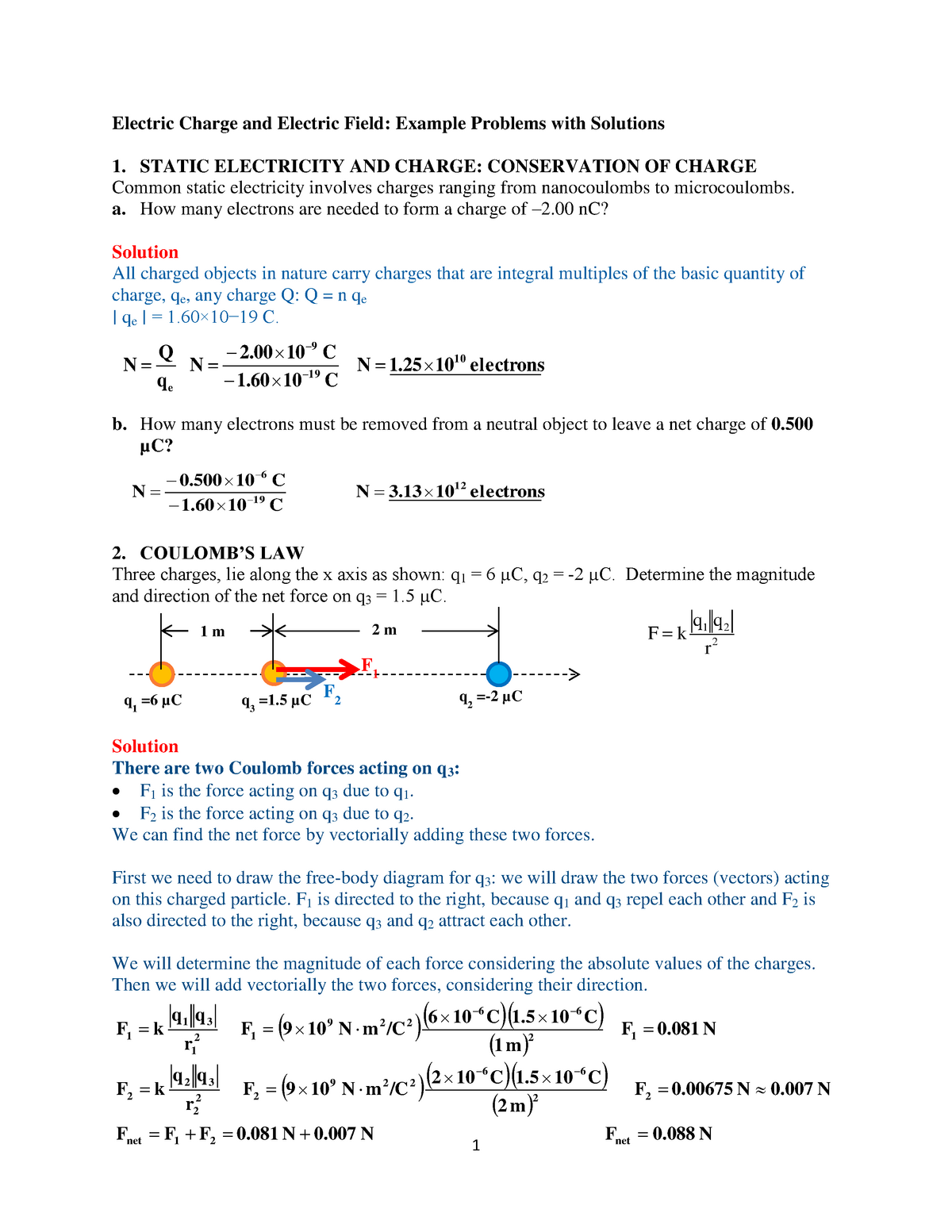 Electric Charge and Electric Field Example Problems with