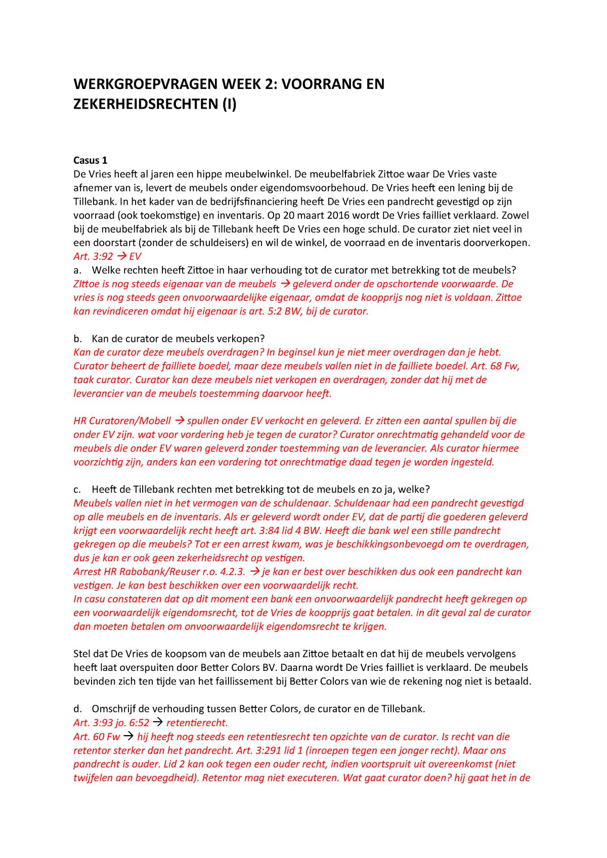 Faillissement Verkoop Meubels.Werkgroep Week 2 Faillissementsrecht Rgmafa100 Studocu