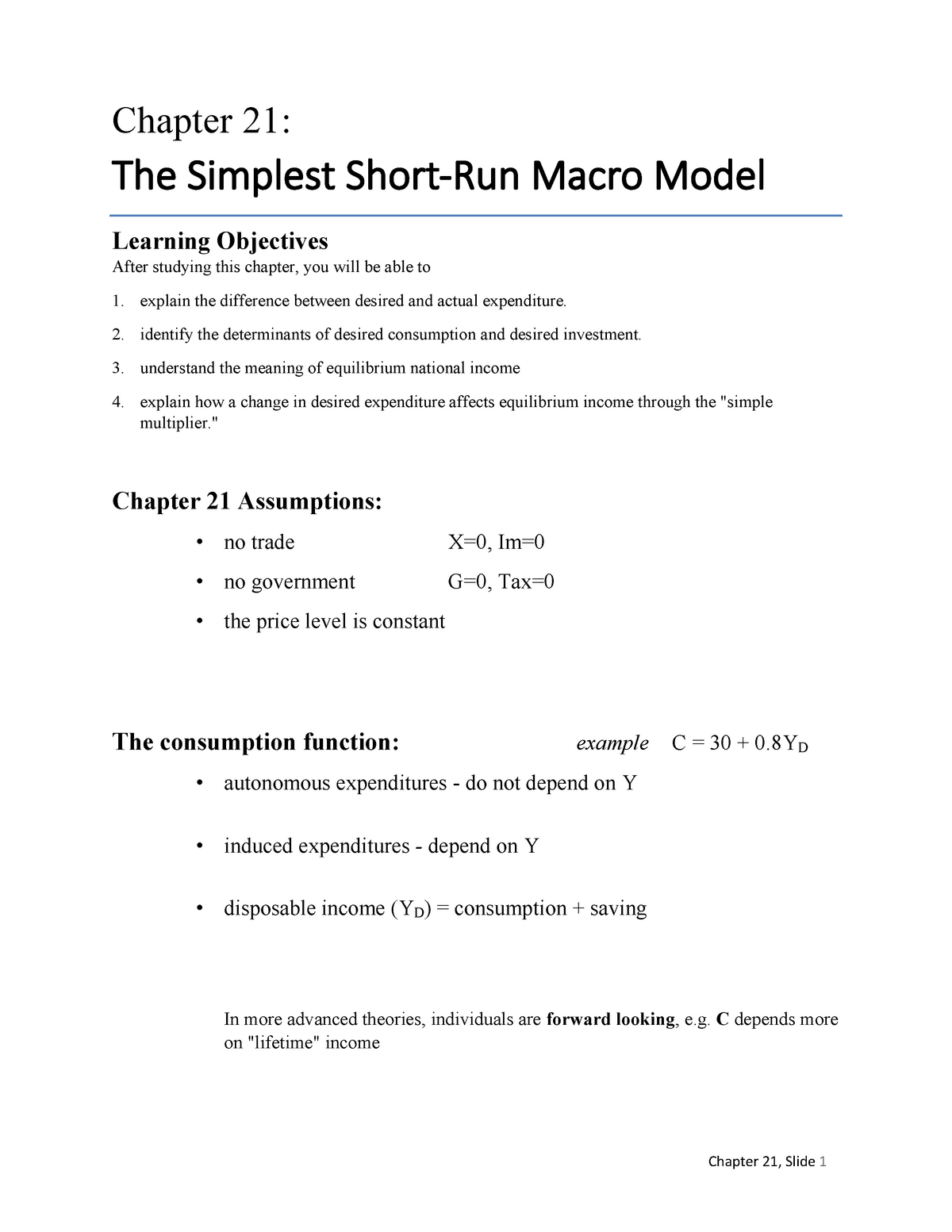 Ch212 - lecture note for class of chapter 01 - ECON 1221