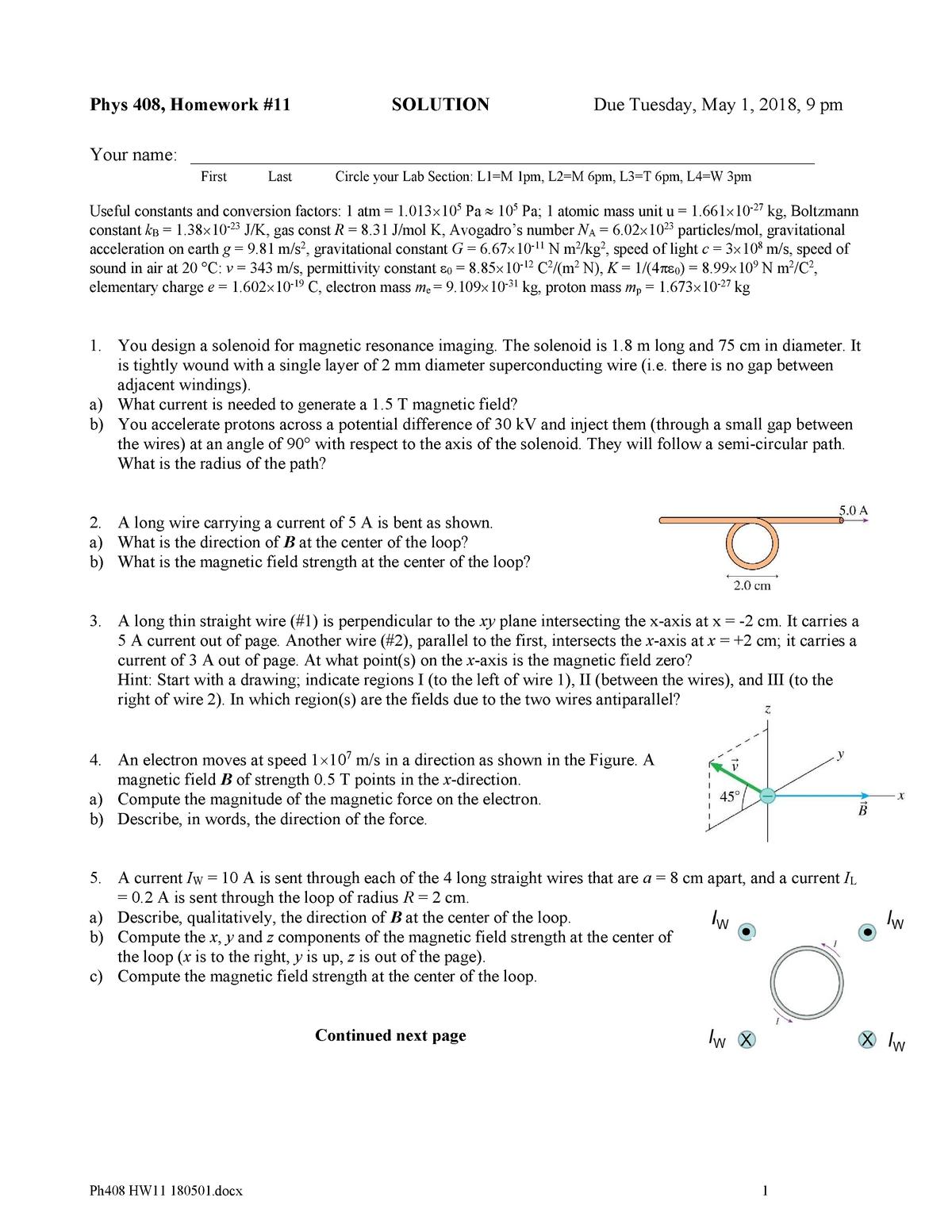 Homework 11 Solutions - PHYS 408: General Physics Ii Lab