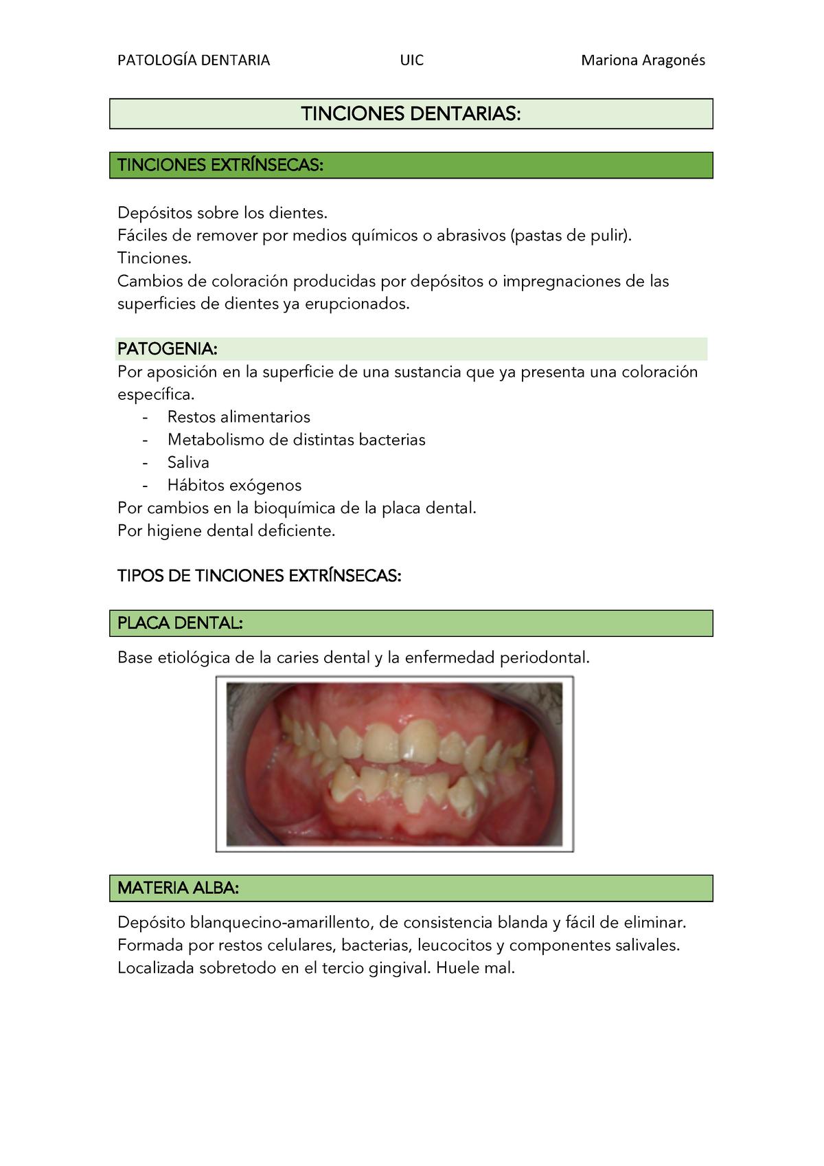 Tinciones dentarias - Patología Dentaria - UIC Barcelona
