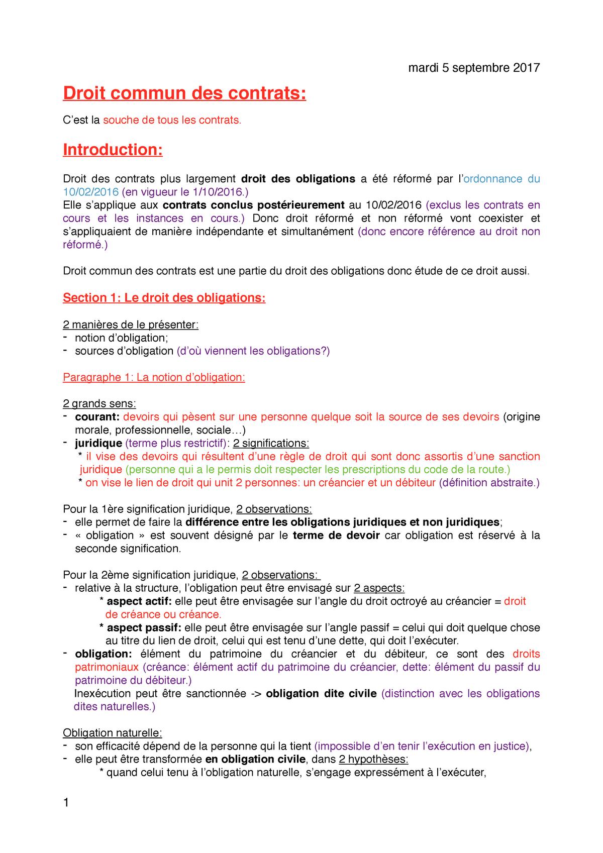 Droit Commun Des Contrats Ulco Studocu