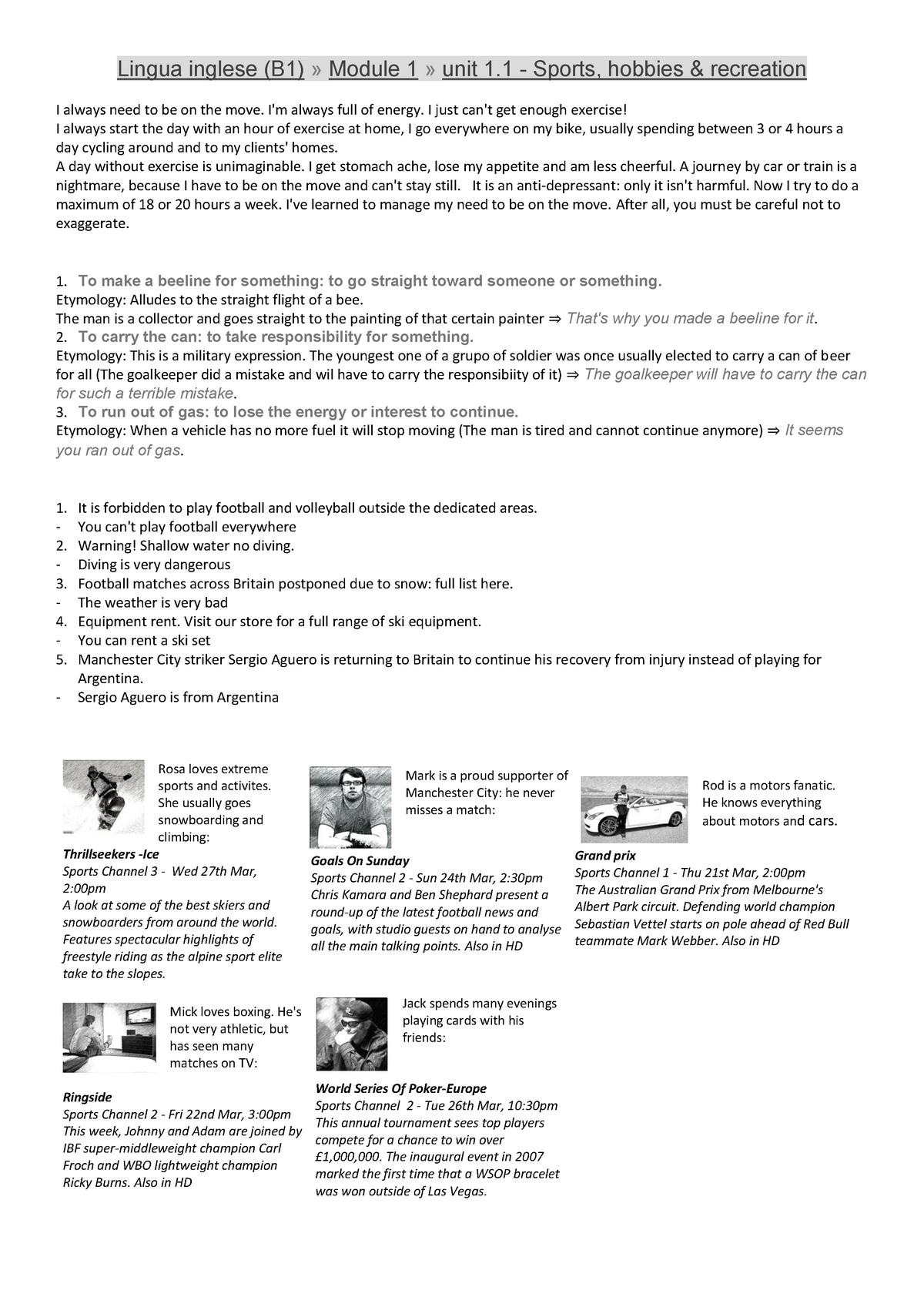 Esercizi del corso B1 online di Inglese - a a  2014/2015