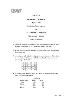 Exam 2012 - GEOG2230: GIS AND SPATIAL ANALYSIS - StuDocu