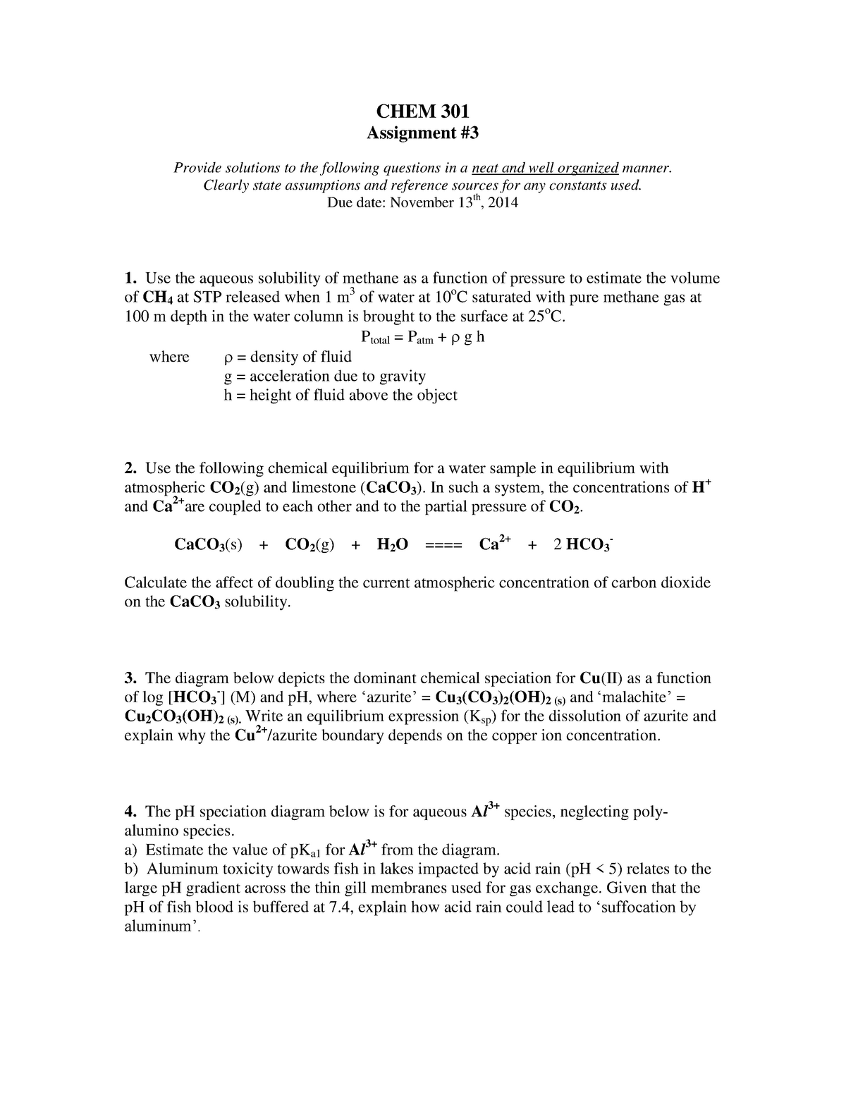 Assign 3 2014 - CHEM301: Aqueous Environmental Chemistry