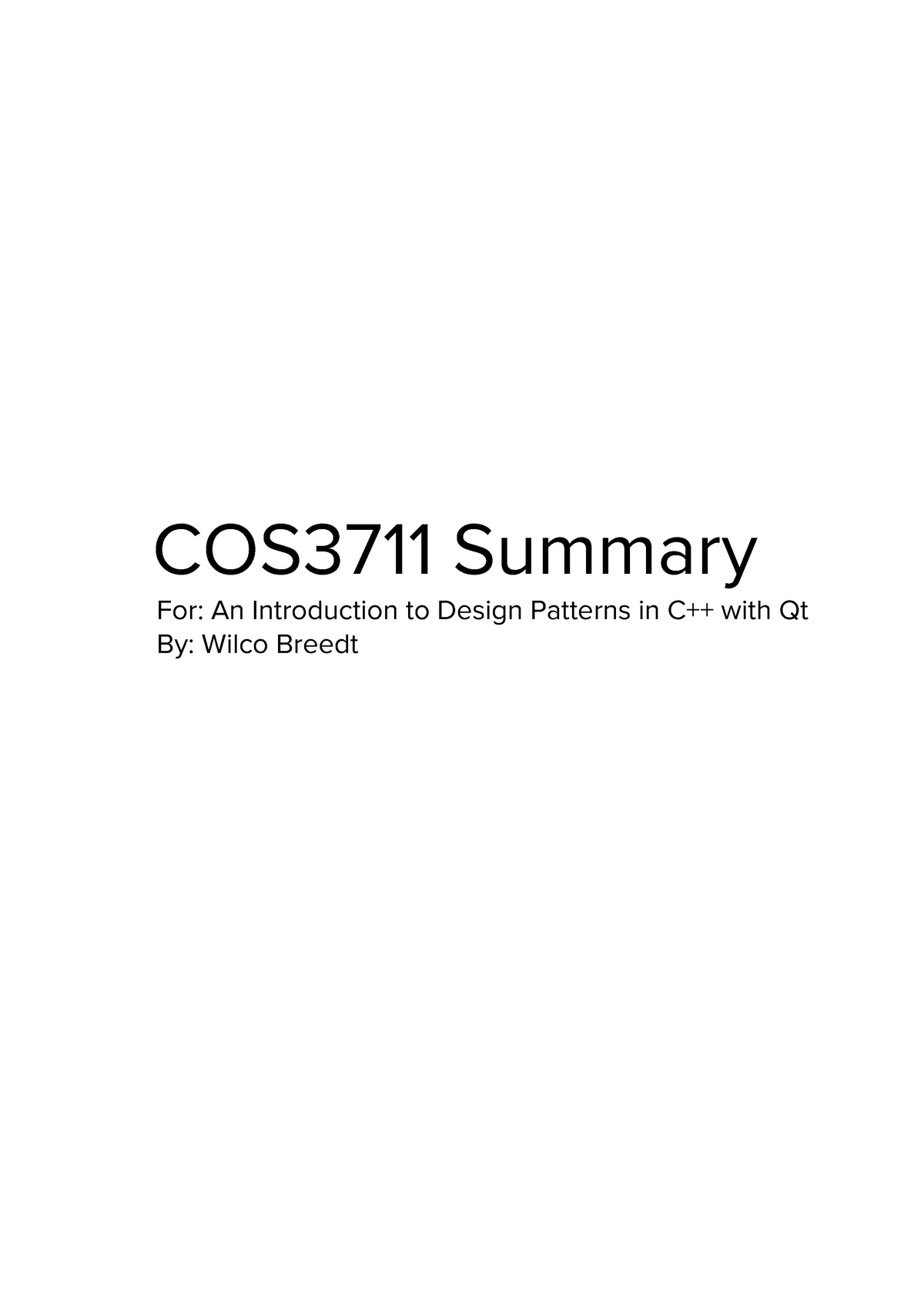 COS3711 Summary - An Introduction to Design Patterns in C++ - StuDocu