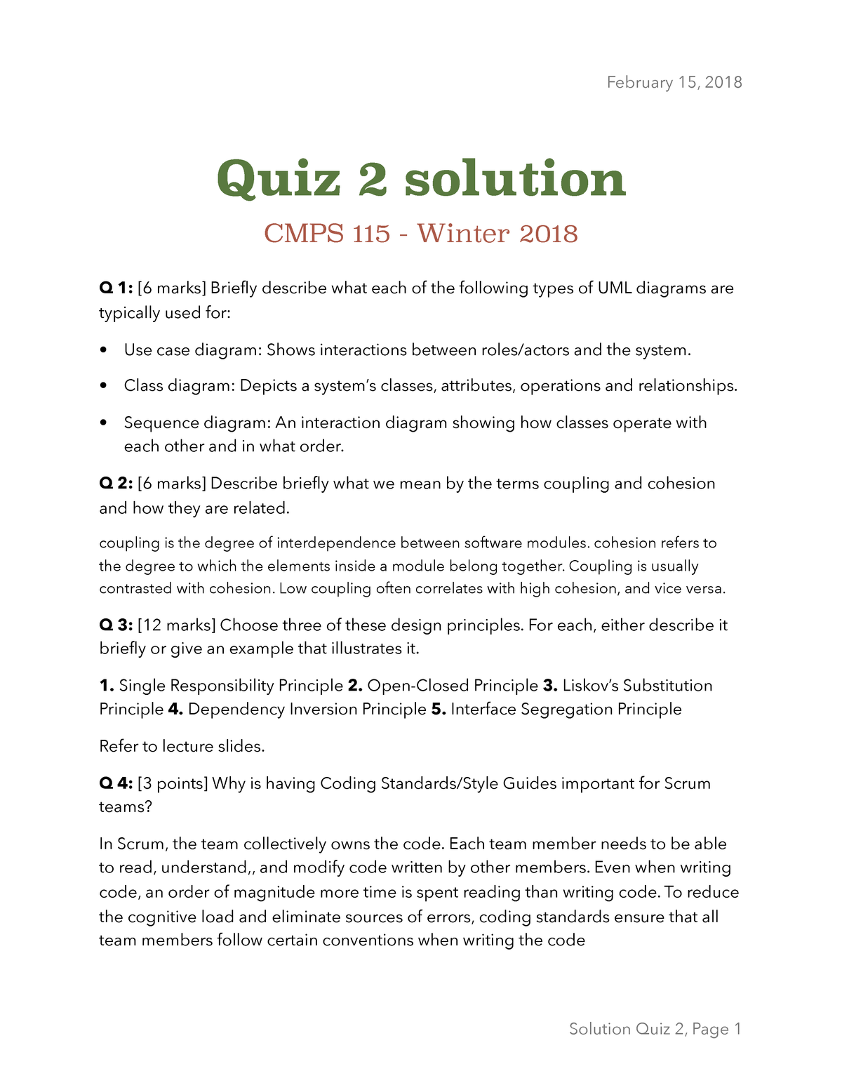 Quiz 2 Winter 2018 Questions And Answers Cmps 115 02 Studocu