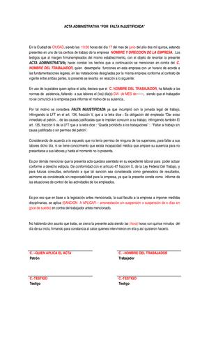Acta Administrativa Falta Injustificada Derecho Civil