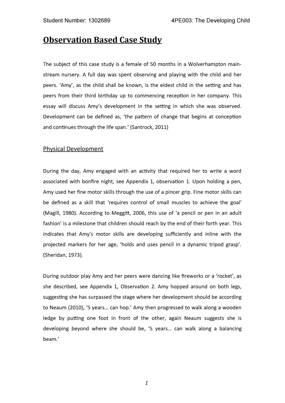 Observation Based Case Study - 4PE003: The Developing Child - StuDocu