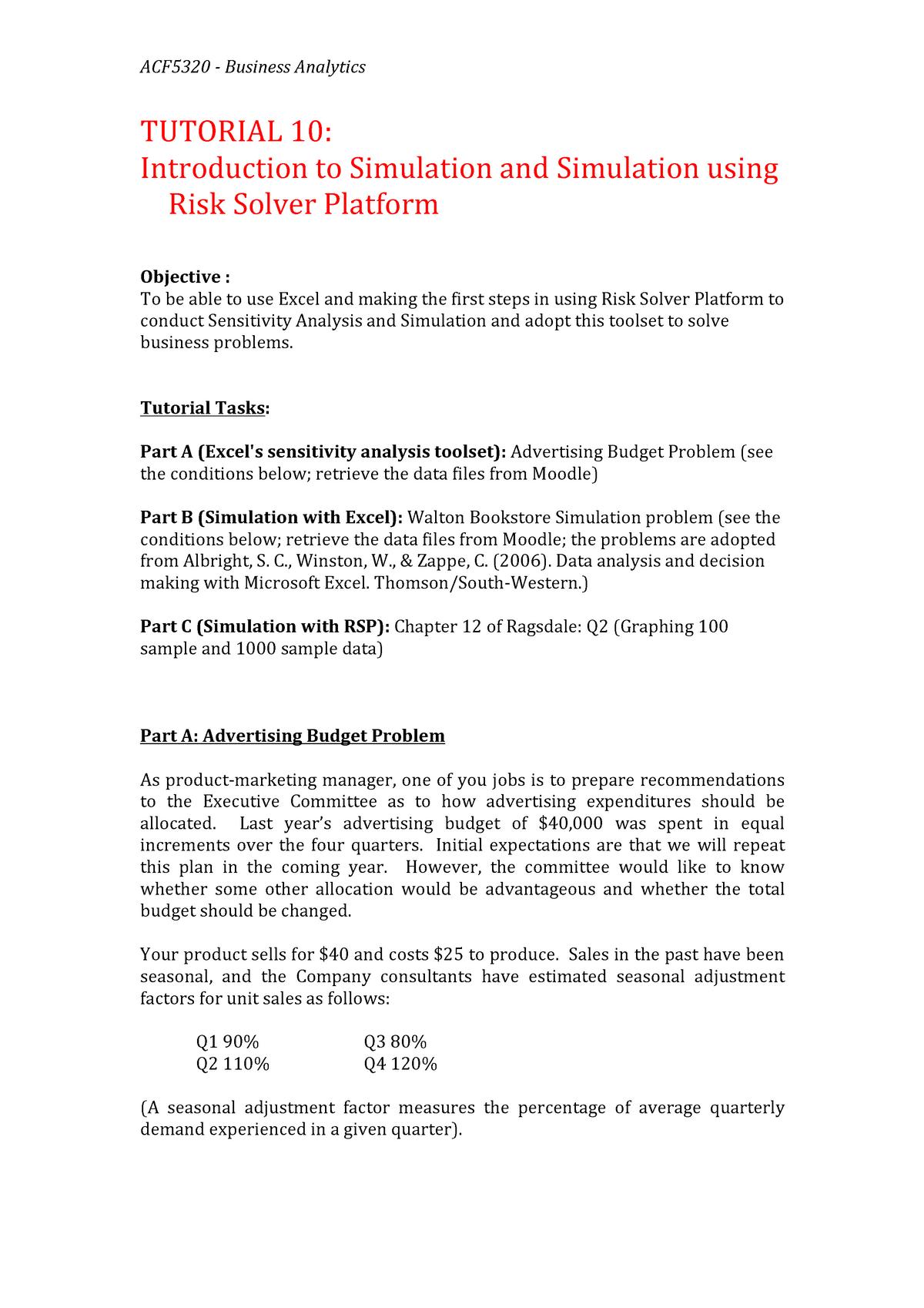 Tutorial work 1, Business Analytics, Tutorial 10 questions - ACF5320