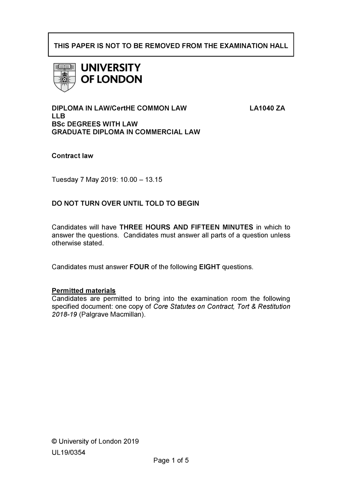 Exam May 2019, questions - Contract law LA1040 - London