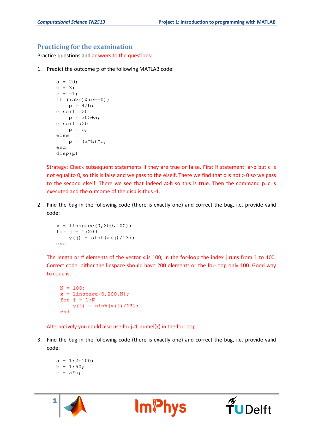 Project Programming With Matlab Examination Questions - TN2513